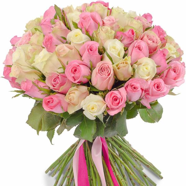 Букет из розовых и белых роз 50 см / РОЗЫ / Каталог / Салон цветов Flora Holland